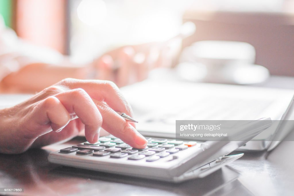 Business woman thinking account : Stock Photo