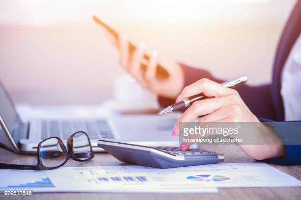 Business woman thinking account,Businesswoman,accounting,office,working