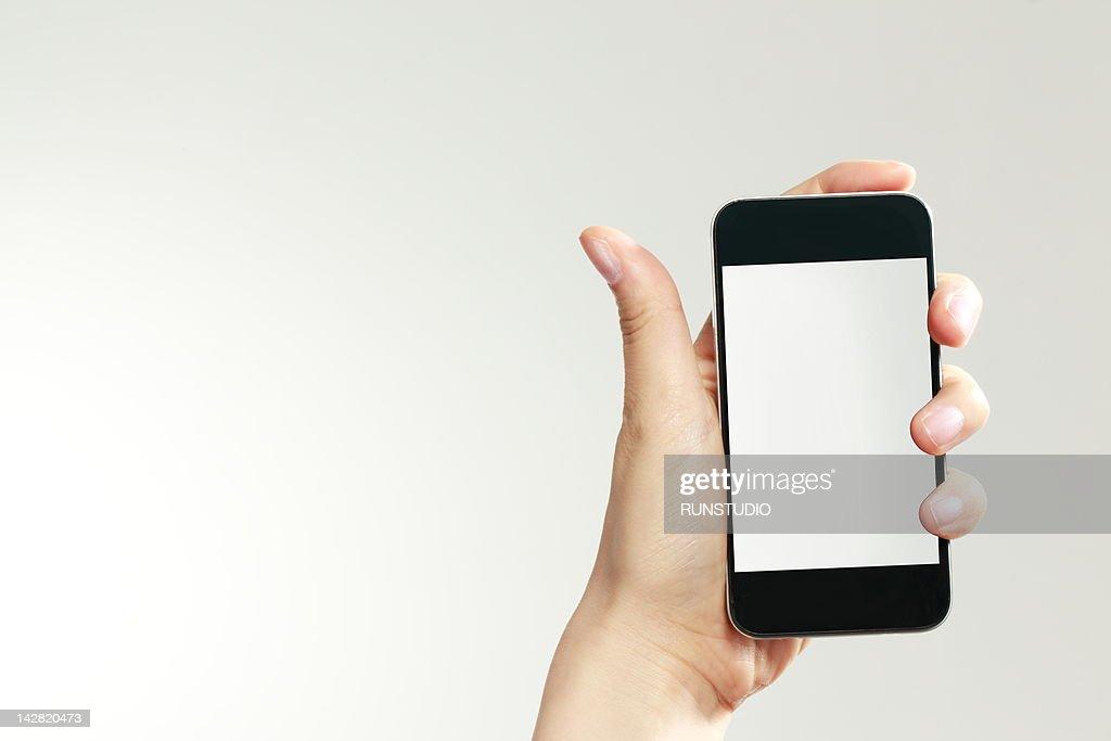 business woman using digital phone,close-up : Stock Photo