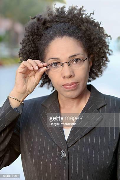 Business woman wearing glasses portrait