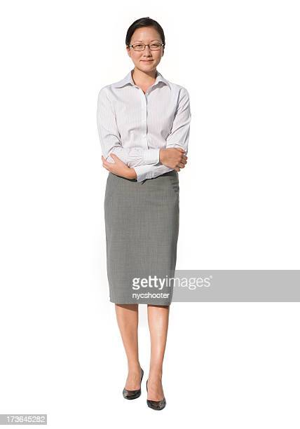 Business woman with arms crossed isolated on white background