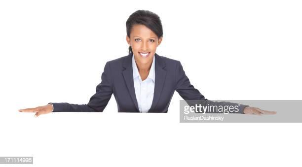 Business-Frau mit leeren billboard.