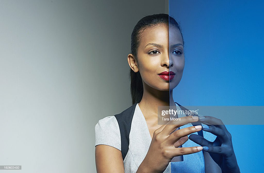 business woman with mirror image : Stock Photo