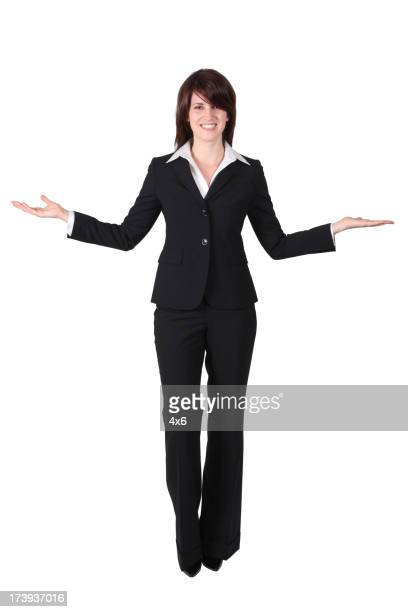 Business woman with outstretched arms