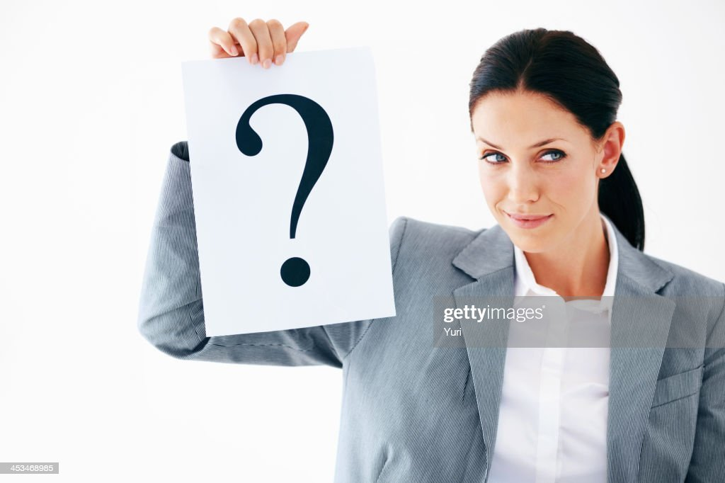 Business woman with question mark : Stock Photo