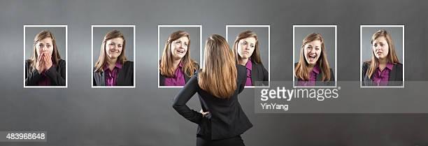 Business-Frau mit verschiedenen Persönlichkeit, Charakter und emotionaler Gesichtsausdruck
