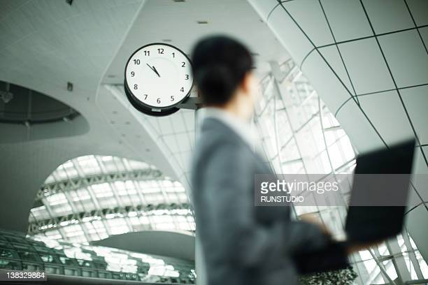 business woman&clock - time stock pictures, royalty-free photos & images