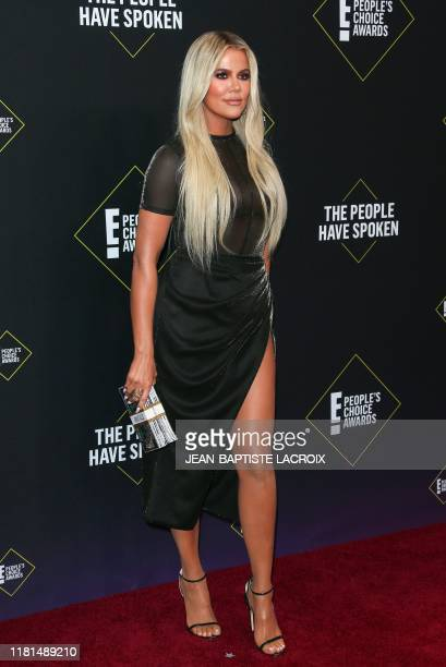 Business woman/media personality Khloé Kardashian arrives for the 45th annual E People's Choice Awards at Barker Hangar in Santa Monica California on...