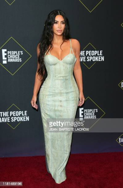 Business woman/media personality Kim Kardashian arrives for the 45th annual E People's Choice Awards at Barker Hangar in Santa Monica California on...