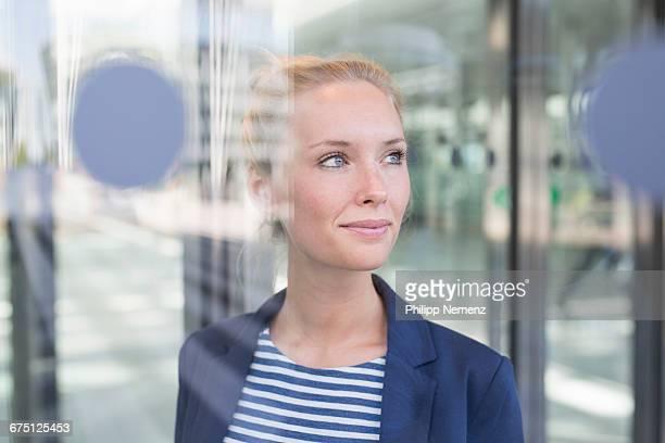business women behind window