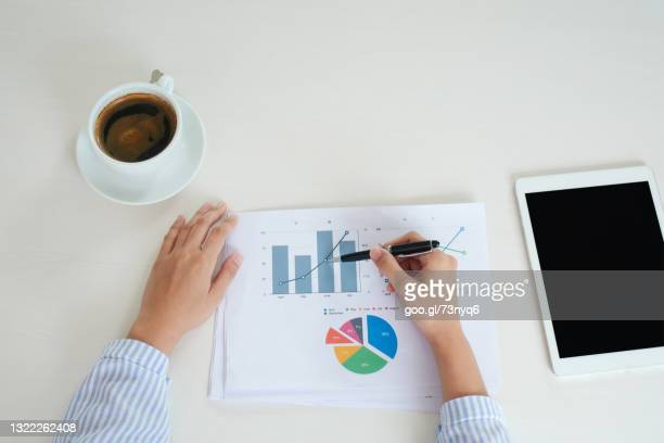 business women hand with financial charts