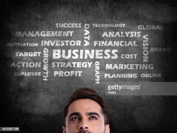 Business word cloud on blackboard