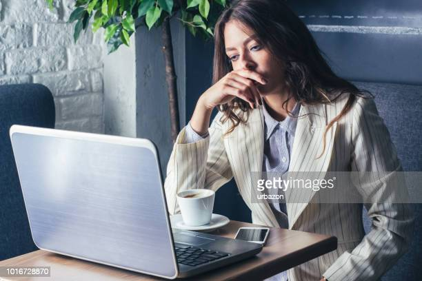 business young brunette with cup coffee