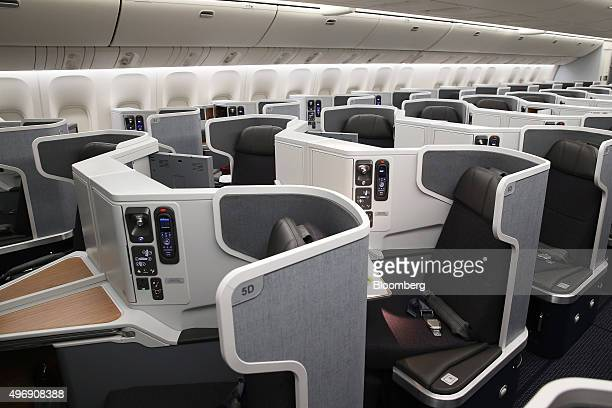 Businessclass seats are seen onboard a Boeing Co B777300ER aircraft operated by American Airlines Group Inc at Sydney Airport in Sydney Australia on...