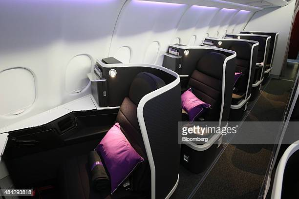 Businessclass seats are seen onboard an Airbus SAS A330 aircraft operated by Virgin Australia Holdings Ltd in Sydney Australia on Monday Aug 17 2015...