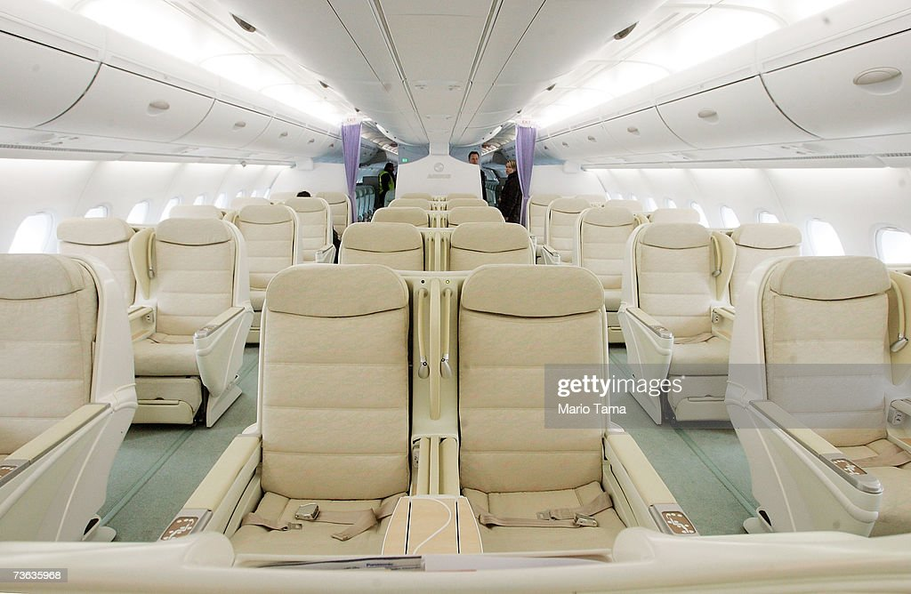 Business-class seats fo the new double-decker Lufthansa Airbus A380 are seen after it arrived at JFK International Airport following its first route-proving flight to the United States with over 500 passengers March 19, 2007 in New York City. The A380 is the largest civil aircraft in history with a maximum take-off weight of 617 tons.