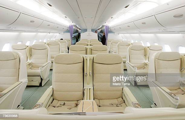 Businessclass seats fo the new doubledecker Lufthansa Airbus A380 are seen after it arrived at JFK International Airport following its first...