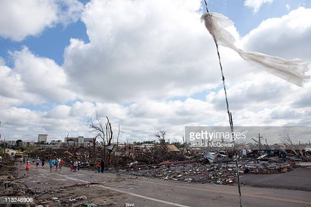 Businesses and homes near downtown Tuscaloosa sit destroyed in the wake of a tornado on April 28, 2011 in Tuscaloosa, Alabama. As of 8 a.m., at least...