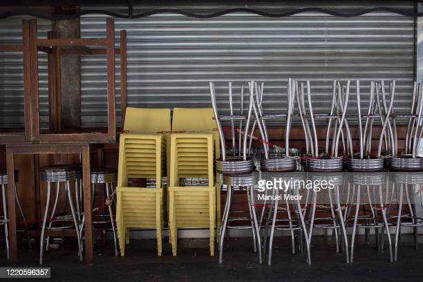 Businesses closed in the Boqueria market on April 23, 2020 in Barcelona, Spain. The Boqueria market is one of the main and most traditional markets...
