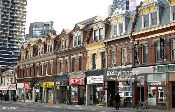 Businesses on Yonge Street, Toronto, Ontario in Spring