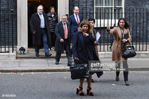 BusinessEurope president Emma Marcegagia and CBI director general Carolyn Fairbairn leaving 10 Downing Street London after a meeting between business...