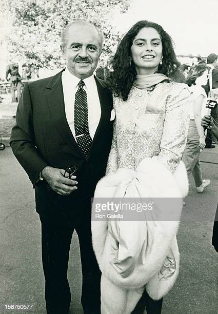 Businessman Adnan Khashoggi and daughter Nabila Khashoggi attend Liberty Weekend Launch Party on July 3 1986 at Governor's Island in New York City