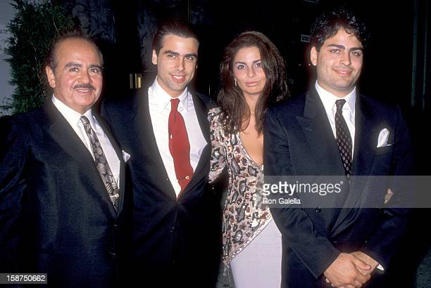 Businessman Adnan Khashoggi and family attend Imelda Marcos' 61st Birthday Party on July 2 1990 at The Nile Restaurant in New York City