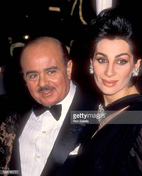 Businessman Adnan Khashoggi and wife Shahpari Khashoggi attend the Wedding of Donald Trump and Marla Maples on December 20 1993 at The Plaza Hotel in...