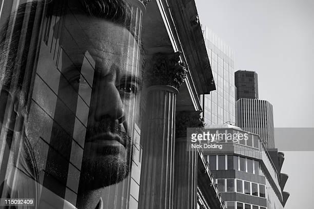Businessman against London Skyline 06