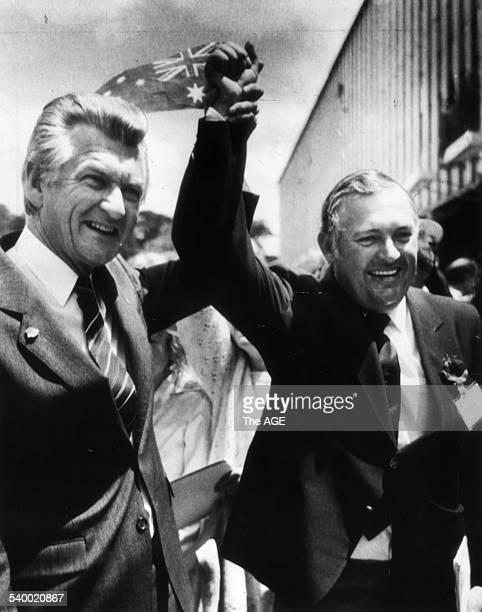 Businessman Alan Bond right and Prime Minister Bob Hawke celebrating Australia II's victory in the America's Cup Perth 15 November 1983 THE AGE...