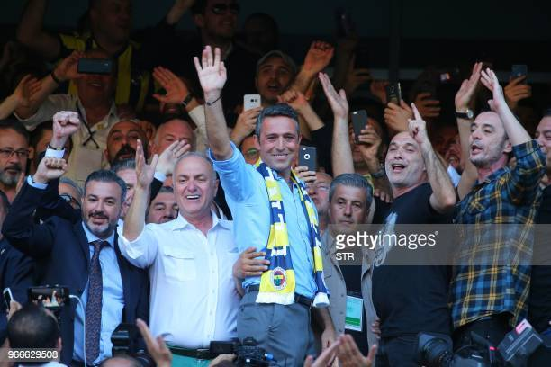 Businessman Ali Koc waves his supporters after being elected as the president of Fenerbahce football club on June 3 in Istanbul Turkish football and...