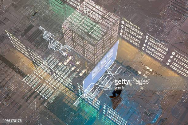 businessman analyzing stock exchange data in vr environment - trading floor stock pictures, royalty-free photos & images