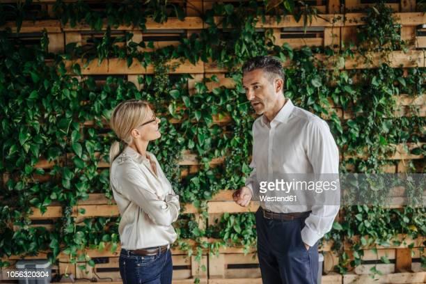businessman and businesswoman in green office talking - gespräch stock-fotos und bilder