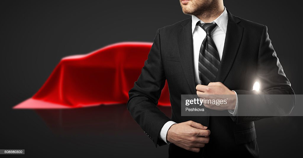 Businessman and car presentation : Stockfoto