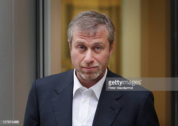 Businessman and Chelsea Football Club owner Roman Abramovich leaves The High Court on October 4 2011 in London England Russian businessman Boris...