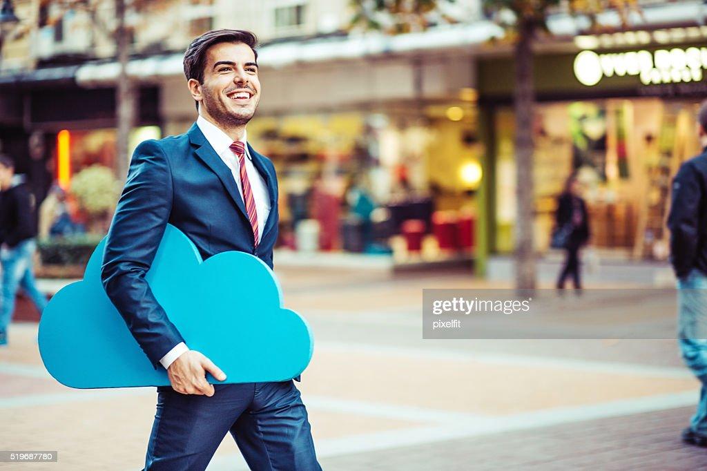 Conceito de empresário e Nuvem Computação : Foto de stock
