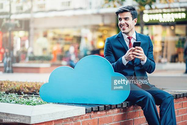 Businessman and cloud computing concept