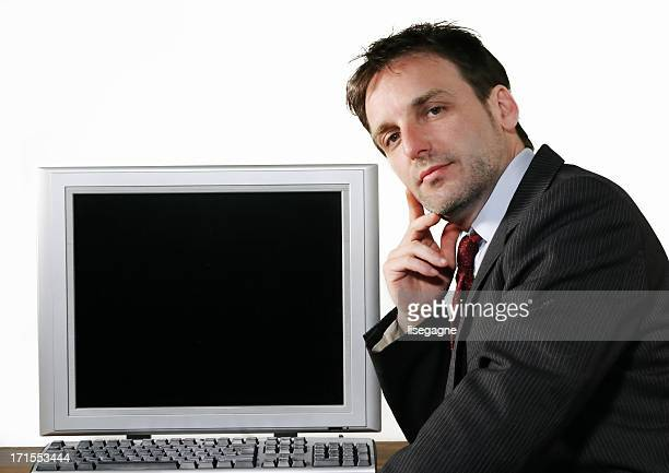 Businessman and computer