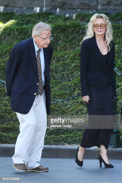 Businessman and former Carlton Blues President John Elliott arrives attends the State Funeral Service for Ronald Walker at St Paul's Cathedral on...