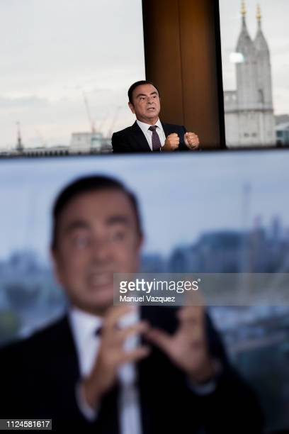 Businessman and former CEO of carmakers Nissan and Renault Carlos Ghosn is photographed for El Pais during a tv interview at Bloomberg's offices on...