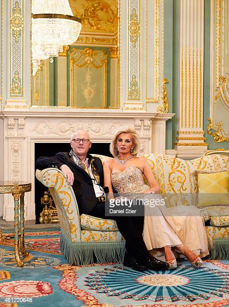 Businessman and founder of Phones4U John Caudwell is photographed with his wife Claire Johnson for the Sunday Times magazine on April 7 2014 in...