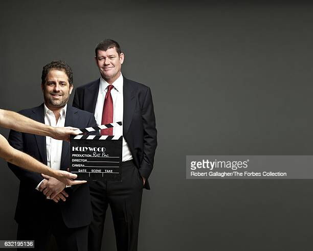 Businessman and investor James Packer and film director/producer Brett Ratner are photographed for Forbes Magazine Australia on January 31 2014 in...