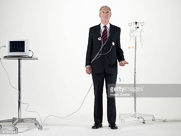 Businessman and medical equipment