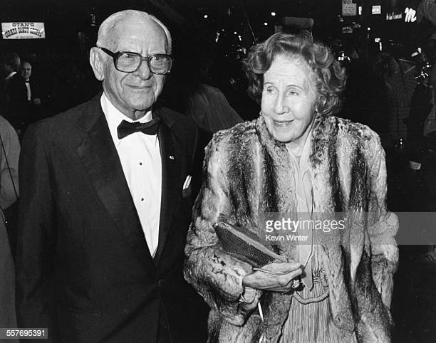 Businessman and philanthropist Armand Hammer and his wife Frances at the premiere of the movie 'Rocky IV' at the Village Theater in Los Angeles...