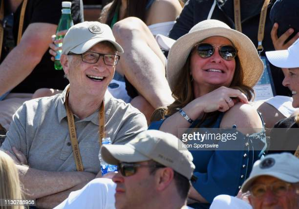 Businessman and philanthropist Bill Gates and his wife Melinda Gates having fun in the stands during a tennis match between Hubert Hurkacz and Roger...