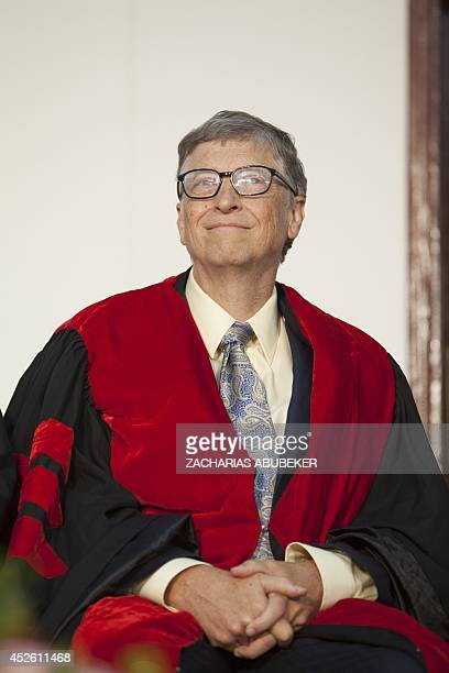 US businessman and philanthropist Bill Gates cochair of Bill and Melinda Gates Foundation attends a ceremony at Addis Ababa University in Addis Ababa...