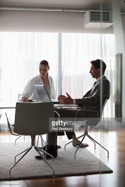 Businessman and scientist having meeting in conference room