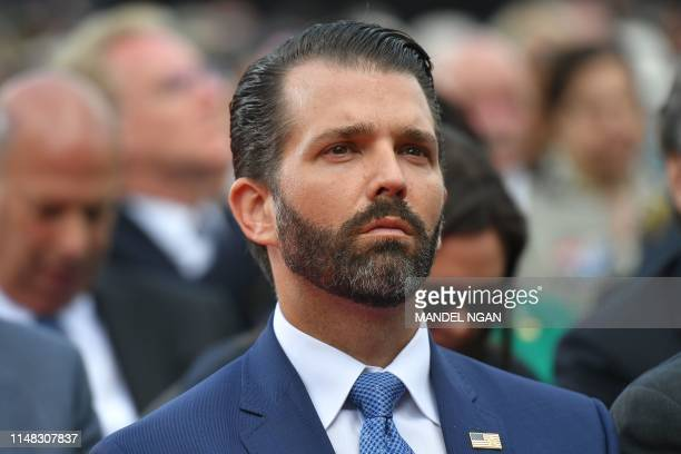 US businessman and son of the US president Donald Trump Jr attends a FrenchUS ceremony at the Normandy American Cemetery and Memorial in...