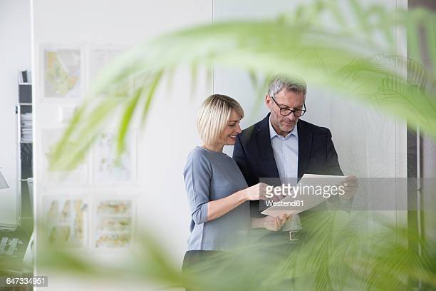 businessman and woman working together in office discussing documents - responsible business stock photos and pictures