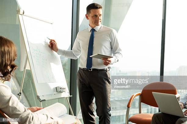 Businessman at flip chart leading a seminar
